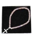 Child Bracelet: Pink Crystal 3mm Beads & Cross(JE2975P)