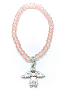 Child Bracelet: Crystal 4mm Beads & Angel(JE2976P)
