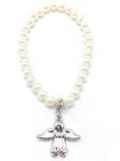 Child Bracelet: Pearl Finish 4mm Beads & Angel(JE2976P)