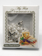 Communion Rosary: Pearl Finish White (RXC078W)