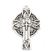 Cross Pendant: Celtic Silver 3.7cm (CR1835)