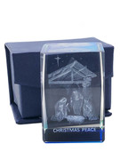 Laser Engraved Glass Blocks: Christmas Peace(LE432XM)