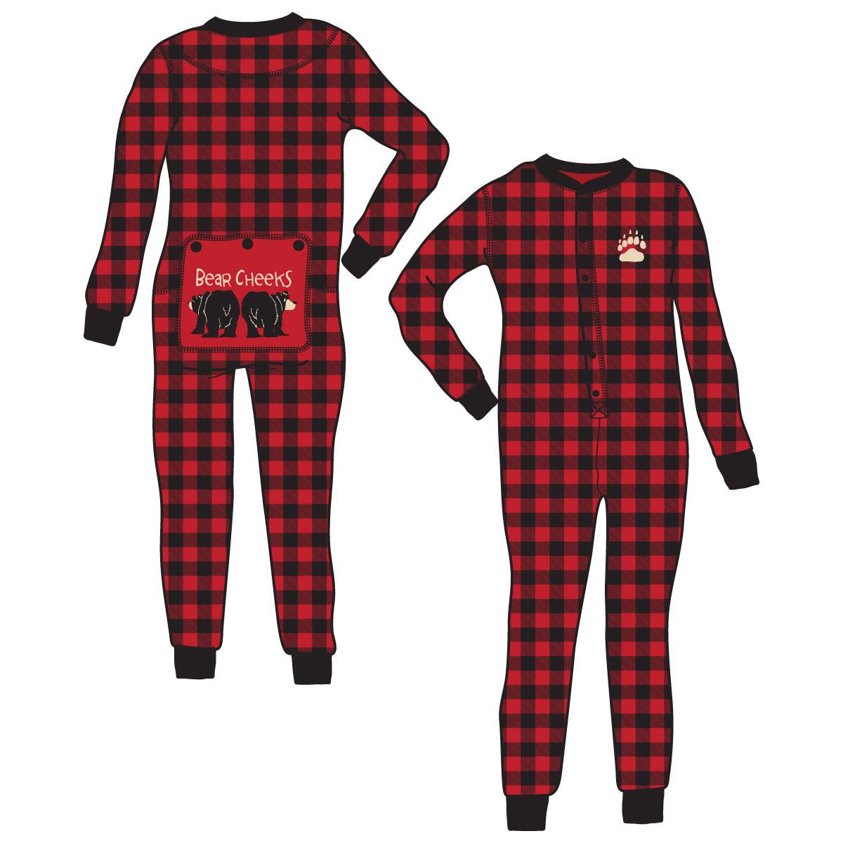 fae6c957b1c9 Bear Cheeks Flapjacks Onesie Union Suit Plaid Adult Unisex ...