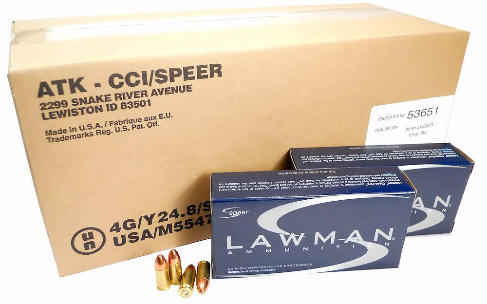 9mm 9x19 Ammo 124gr TMJ Speer Lawman (53651) 1000 Round Case