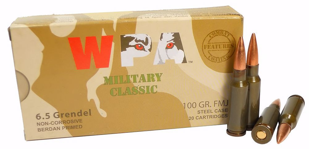 6 5mm grendel ammo 100gr fmj wolf wpa military classic 20 round box