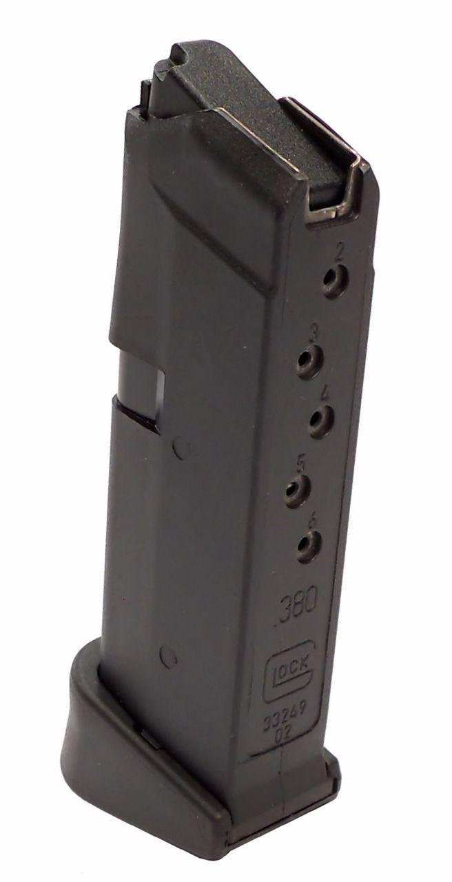 Glock 42 380 ACP 6 rnd magazine (w/ Grip Extension) Gen 4 Reversible Mag  Release