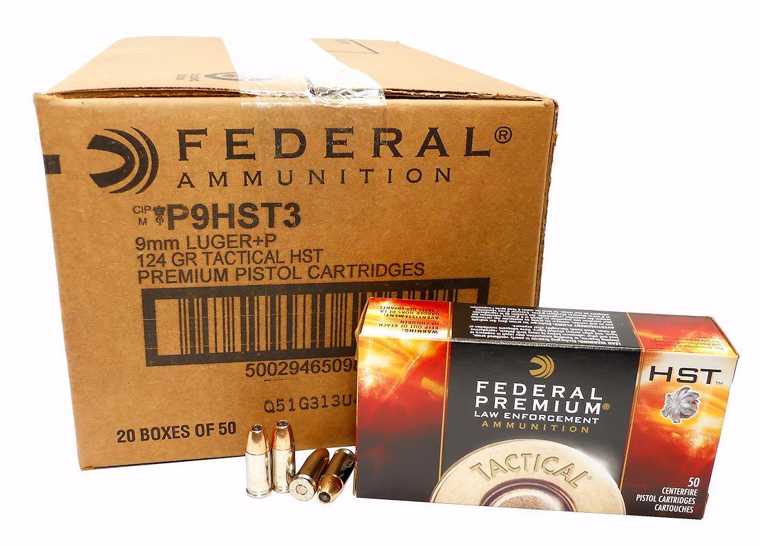 9mm 9x19 Ammo 124gr +P HST JHP Federal Premium (P9HST3) 50 Round Box