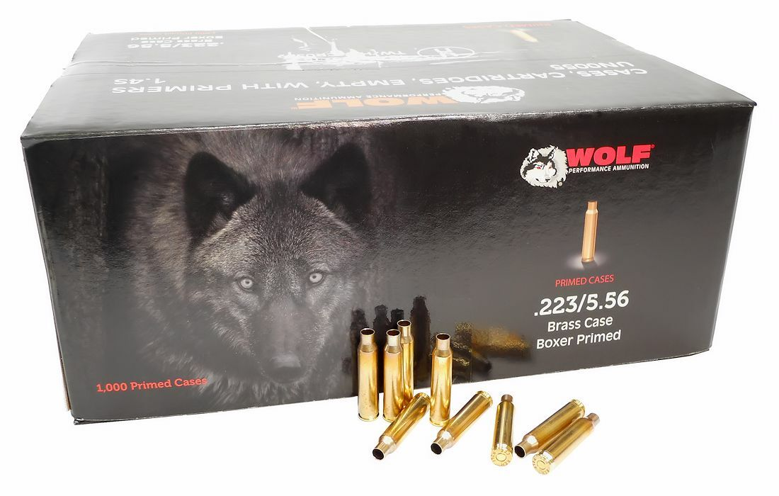 223 Rem Primed Brass Wolf Performance 1000 piece case