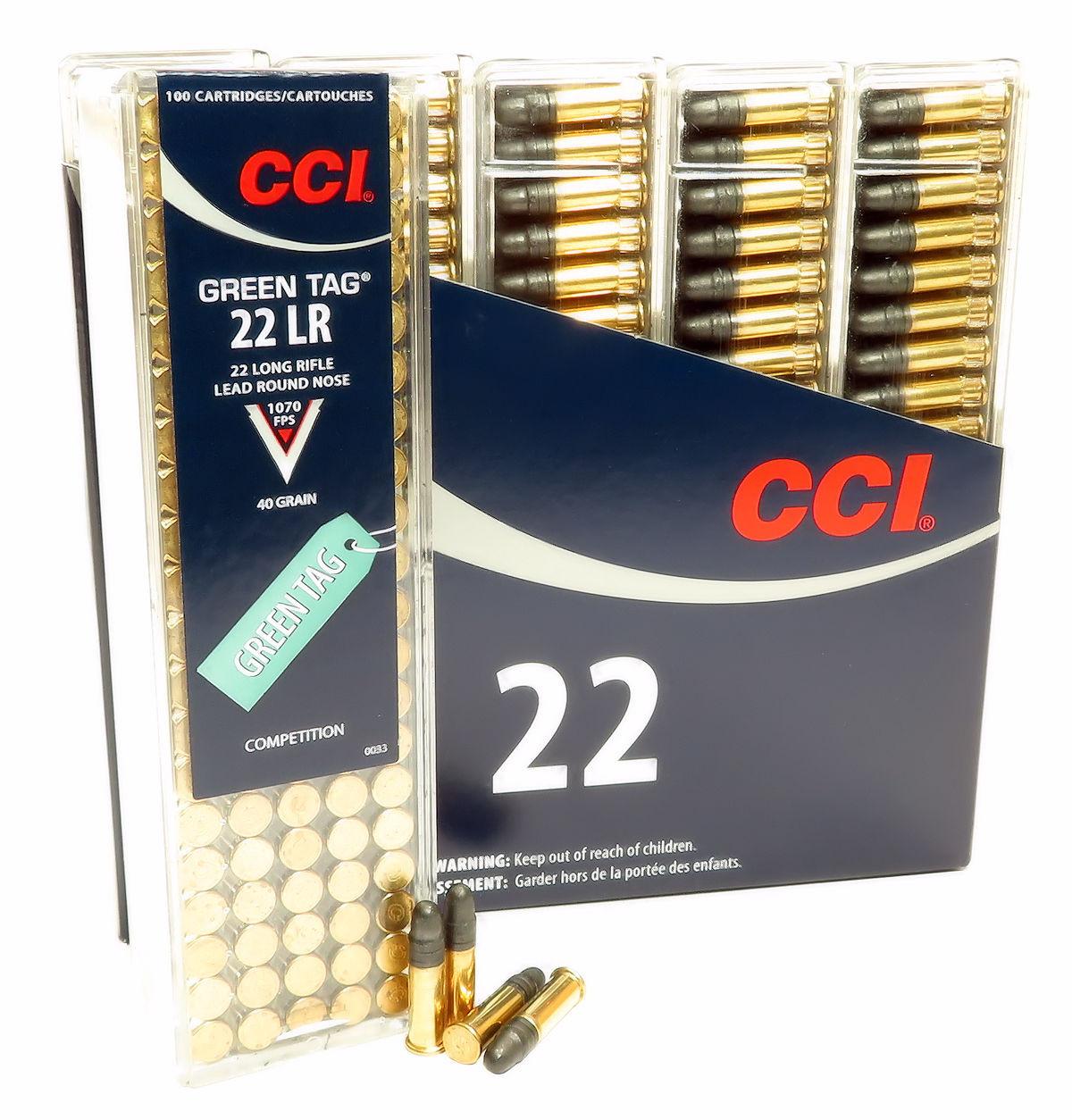 22lr ammo cci green tag competition 40gr lrn 0033 500 round box