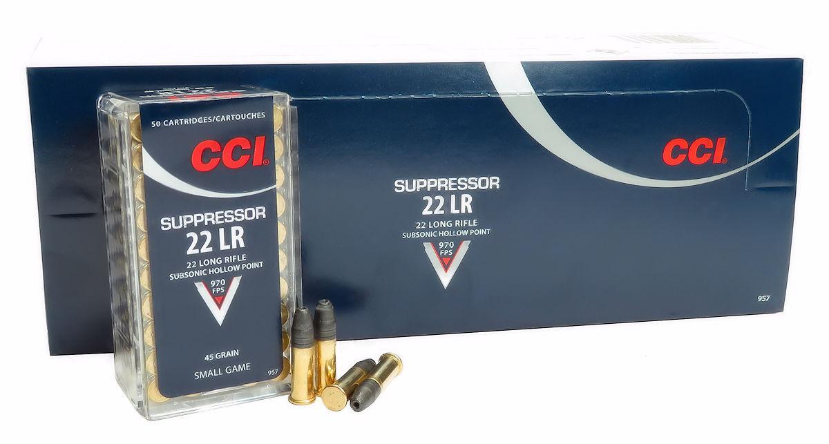 22LR Ammo CCI Suppressor 45gr Lead HP (957) 500 Round Box