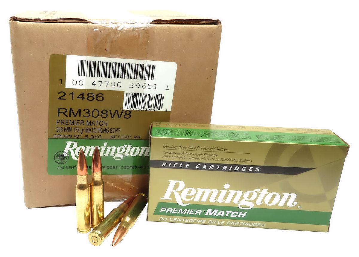 308 Win Ammo 175gr BTHP Remington Premier Match (RM308W8) 200 Round Case