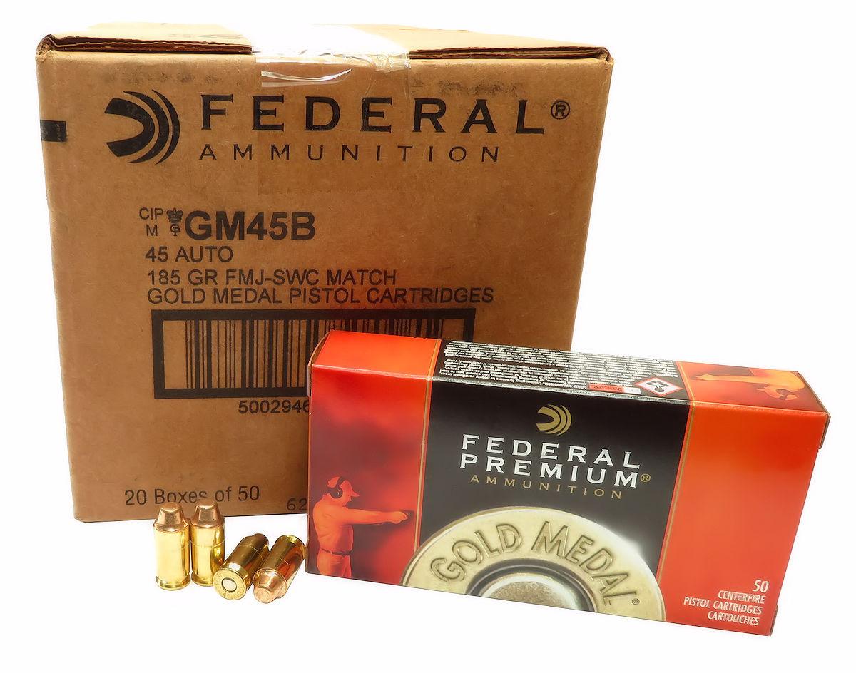 45 ACP Ammo 185gr FMJ SWC Federal Gold Medal (GM45B) 50 Round Box
