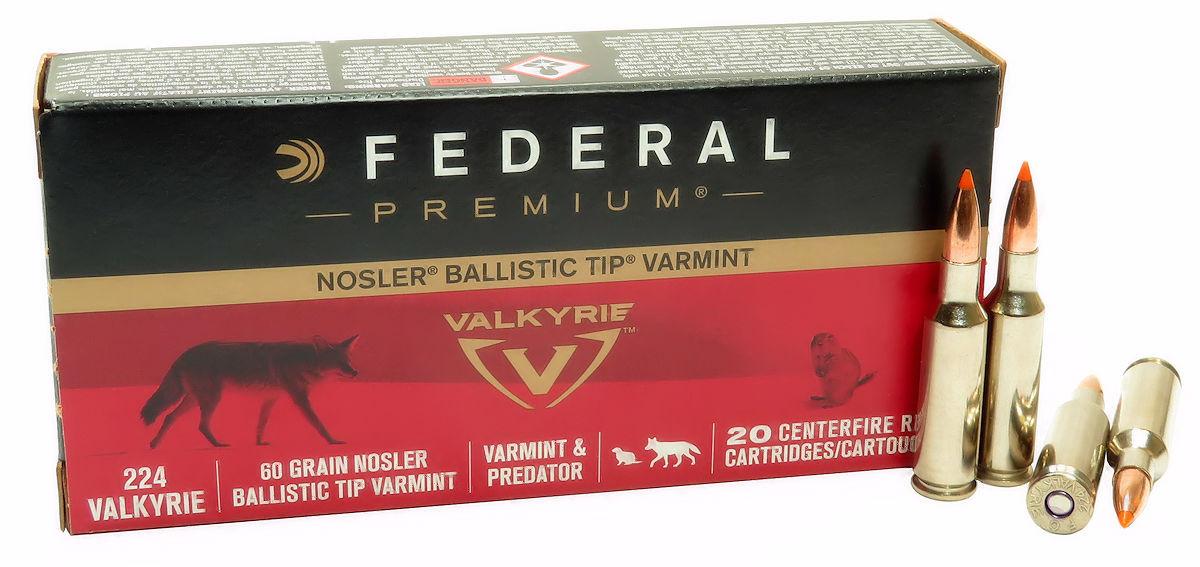 224 Valkyrie Ammo 60gr Nosler Ballistic Tip Federal (P224VLKBT1) 20 Round  Box