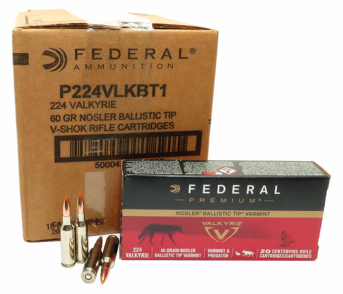 224 Valkyrie Ammo 60gr Nosler Ballistic Tip Federal (P224VLKBT1) 200 Round  Case