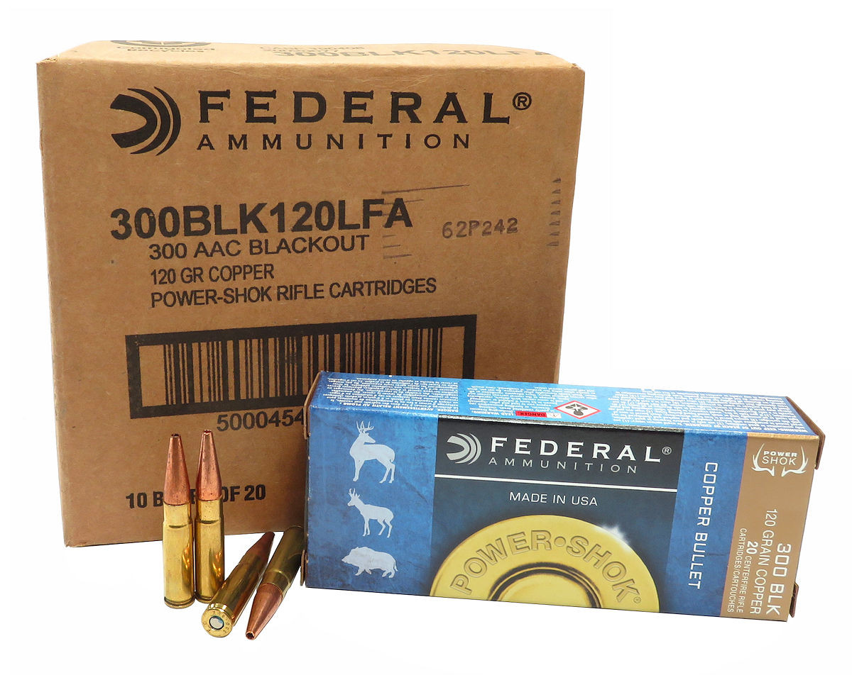 300 AAC Blackout Ammo 120gr Copper HP Federal Power-Shok (300BLK120LFA) 200  Round Case