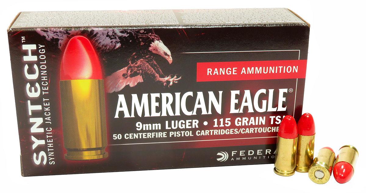9mm 9x19 Ammo 115gr TSJ American Eagle Syntech (AE9SJ1) 50 Round Box