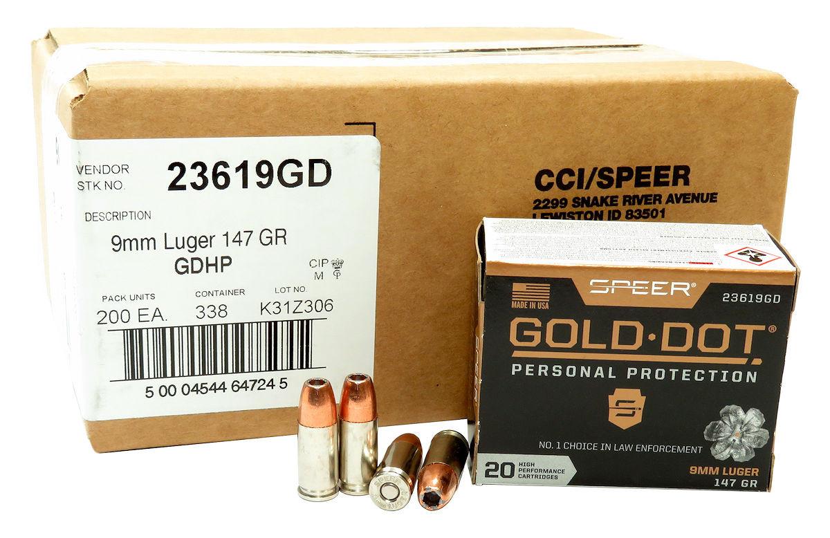 9mm 9x19 Ammo 147gr GDHP Speer Gold Dot (23619GD) 200 Round Case