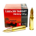7.62x39 Ammo 124gr FMJ Geco mfg. Brass Case 20 Round Box