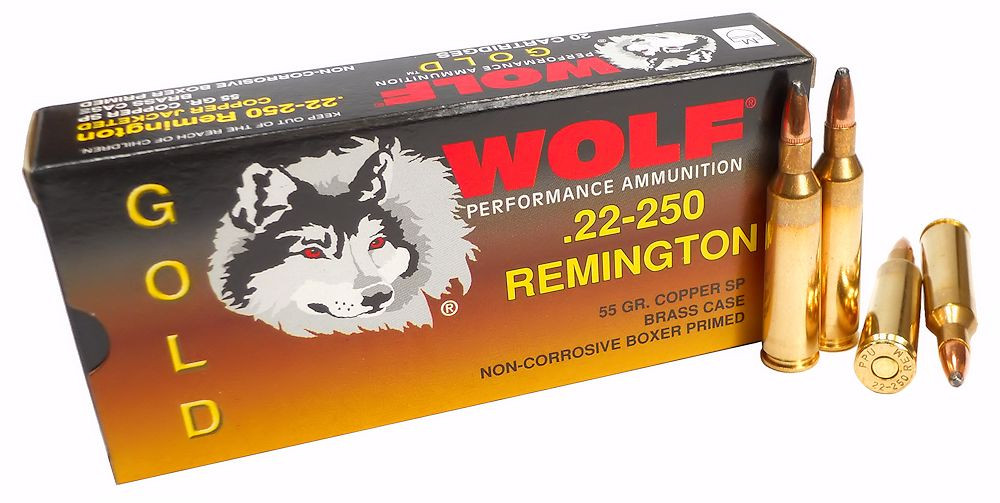 22 250 remington 55gr sp wolf gold 20 round box