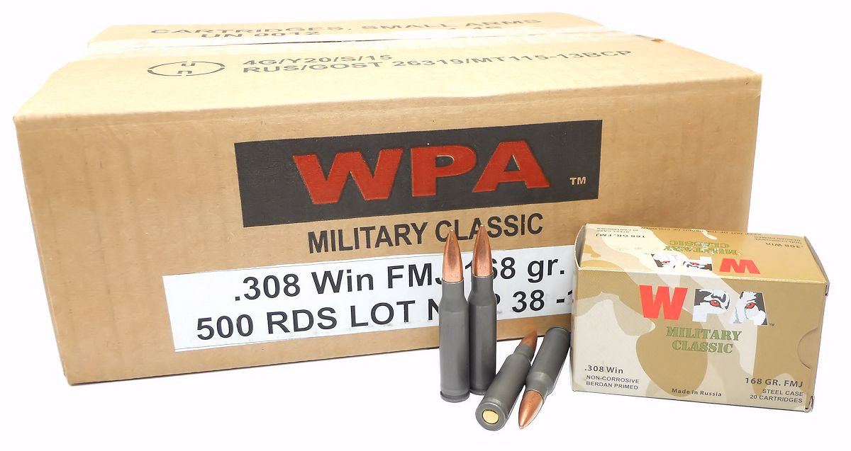 308 Win Ammo 168gr FMJ Wolf WPA Military Classic 500 Rnd Case