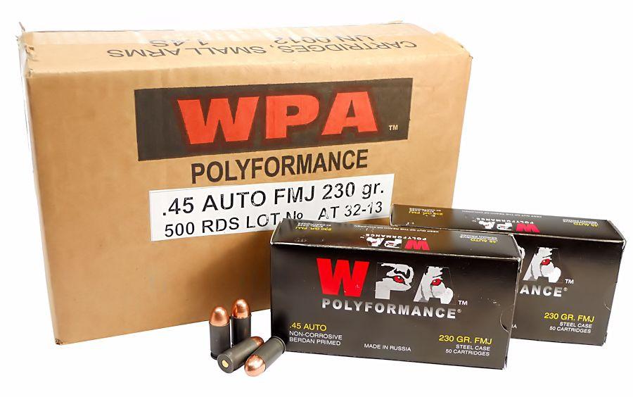 45 ACP Ammo 230gr FMJ Wolf WPA Polyformance 500 Round Case
