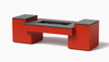 Propane Fire Table Hidden Tank: Shown Red Powder Coat Aluminum Finish with the Black Granite Top.