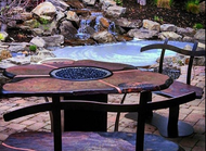 Fine Art Fire Table:  Slate top with copper inlay seams  and chairs to match