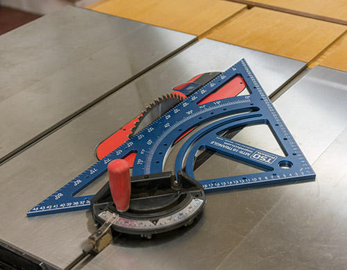 The MTR-18 excels at traditional triangle duties as well, such as calibrating your miter gauge to a perfect 45 degrees from your tablesaw blade.
