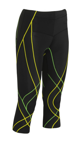 CW-X Women's 3/4 Endurance Generator Tights New 2015 Colour Black Green Yellow