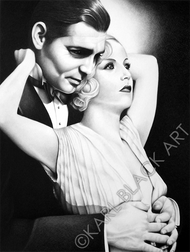 Clark Gable and Carole Lombard black and white classic hollywood art and prints