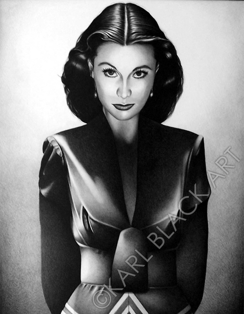 Vivian Leigh black and white art of classic hollywood