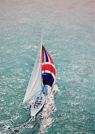 Nautical, sailboat watercolor painting art