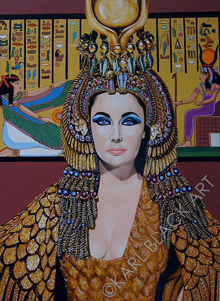 Elizabeth Taylor as Cleopatra painting, art, signed print