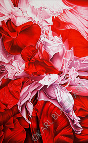 Red Three Floral Oil Painting by Karl Black