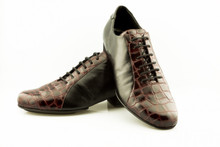 Online Tango Shoes - 2x4 al pie Almagro - Negro y Croco Bordo (fully leather)