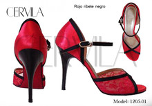 Online Tango Shoes - Cervila - Rojo Ribete Negro (fully leather)