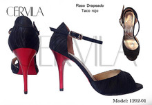 Online Tango Shoes - Cervila - Drapeado Negro Rojo (fully leather)
