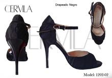 Online Tango Shoes - Cervila - Drapeado Negro (fully leather)