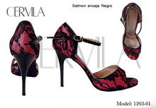 Online Tango Shoes - Cervila - Encaje Salmon (fully leather)