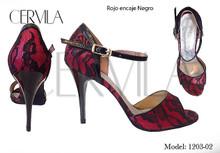 Online Tango Shoes - Cervila - Encaje Rojo Negro (fully leather)