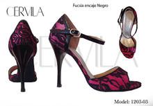 Online Tango Shoes - Cervila - Fucsia Encaje Negro (fully leather)