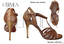 Online Tango Shoes - Cervila - Natural Taco Dorado (fully leather)