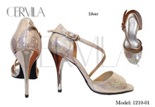 Online Tango Shoes - Cervila - Silver (fully leather)