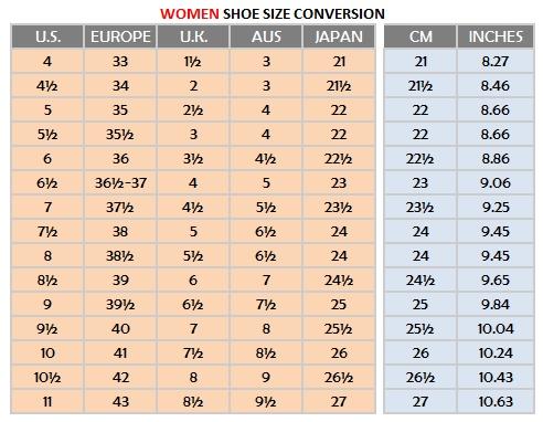 Women Shoe Sizes - Very Tango Online Store 554672fa1