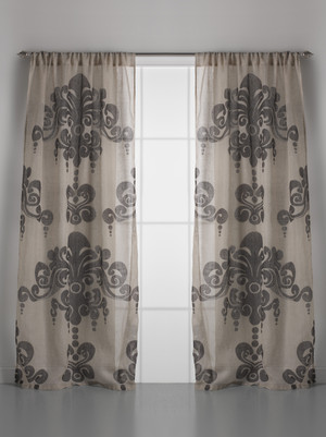Couture Dreams Enchantique Natural Bark Linen Gauze Window Curtain Pair