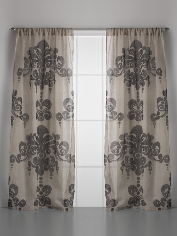 Couture Dreams Enchantique Natural Bark Linen Gauze Window Curtain Pair