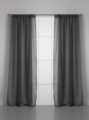 Solid Linen Gauze Slate Grey Window Curtain