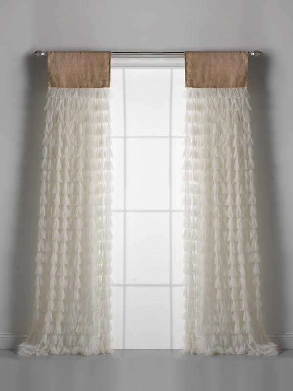 Couture Dreams Chichi Ivory Petal & Natural Jute Window Curtain Pair