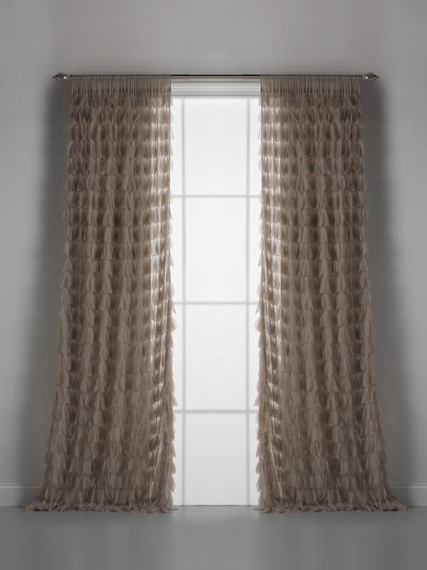 Couture Dreams Chichi Sable Petal Window Curtain Pair