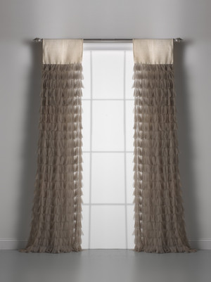 Couture Dreams Chichi Sable Petal & Ivory Jute Window Curtain Pair